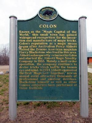 Colon / Harry Blackstone Marker (front) Photo, Click for full size