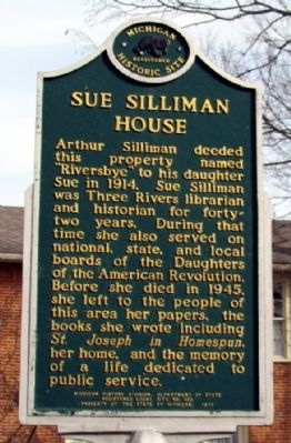 Sue Silliman House Marker image. Click for full size.
