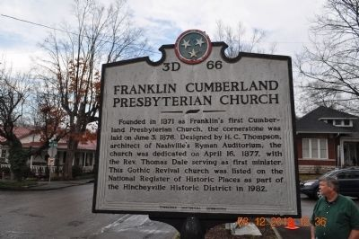 Franklin Cumberland Presbyterian Church Marker image. Click for full size.