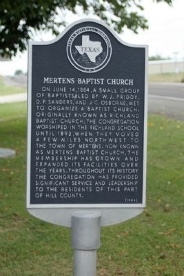 Mertens Baptist Church Marker Photo, Click for full size