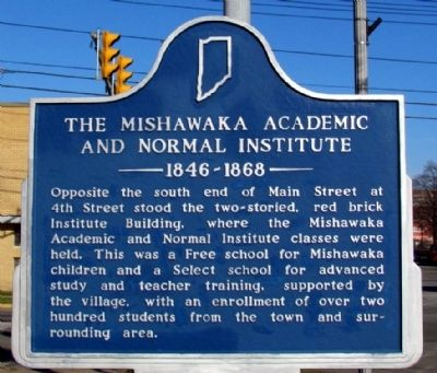 The Mishawaka Academic and Normal Institute Marker image. Click for full size.