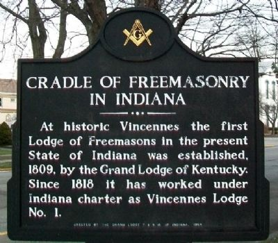 Cradle of Freemasonry in Indiana Marker image. Click for full size.