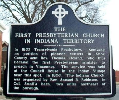 The First Presbyterian Church In Indiana Territory Marker image. Click for full size.