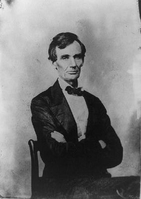 Abraham Lincoln, candidate for U.S. president. Half-length portrait, seated, facing front image. Click for full size.