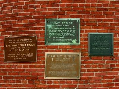 Four Plaques on the Phoenix Shot Tower image. Click for full size.