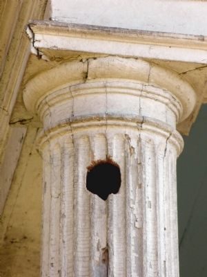 Woodpecker hole in a Doric column at Bostwick image. Click for full size.