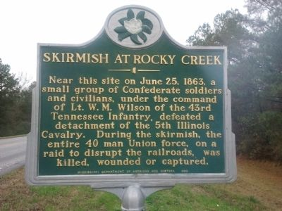 Skirmish At Rocky Creek Marker image. Click for full size.