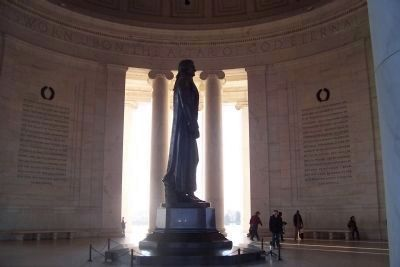 Jefferson's statue with his words on west interior of the rotunda image. Click for full size.