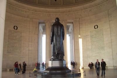 Jefferson's statue with his words on north interior of the rotunda image. Click for full size.
