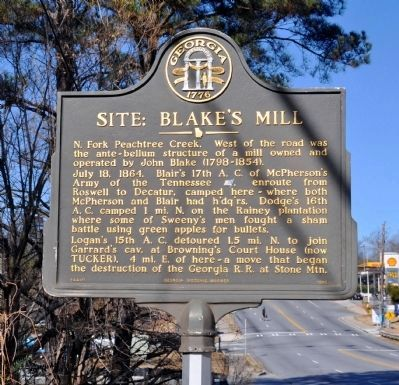 Site: Blake's Mill Marker image. Click for full size.