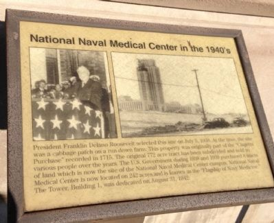 National Naval Medical Center in the 1940�s Marker image. Click for full size.