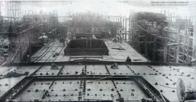 Ship under constrution at the pre-assembly yard image. Click for full size.