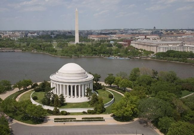 Aerial view of Jefferson Memorial and Washington Monument, Washington, D.C. image. Click for full size.