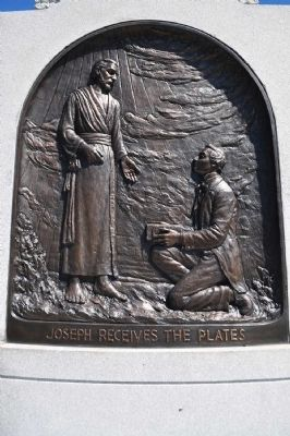 Joseph Receiving the Golden Plates Plaque from Monument Base image. Click for full size.
