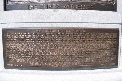 Three Witnesses Text Plaque from base of Monument image. Click for full size.