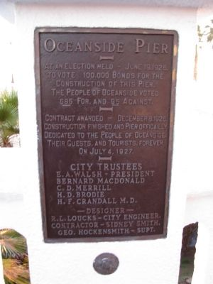 Oceanside Pier Marker image. Click for full size.