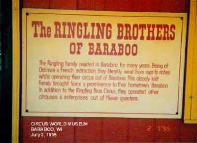 The Ringling Brothers of Baraboo Marker image. Click for full size.