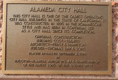 Alameda City Hall Marker image. Click for full size.