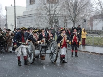 Reenactors at the Trenton Battle Monument image. Click for full size.