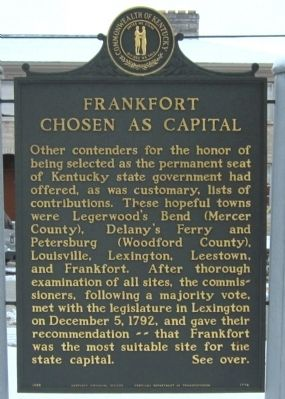 Frankfort Chosen As Capital Marker image. Click for full size.