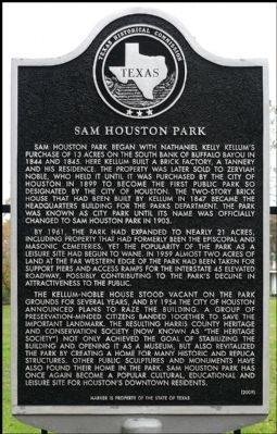 Sam Houston Park Marker image. Click for full size.