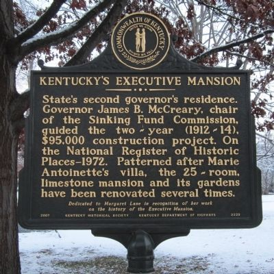 Kentucky's Executive Mansion Marker image. Click for full size.