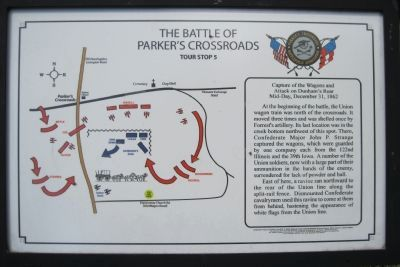 Battle of Parker's Crossroads Tour Stop 5 Marker image. Click for full size.