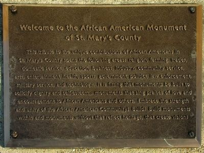 Welcome to the African American Monument of St. Mary's County Marker image. Click for full size.