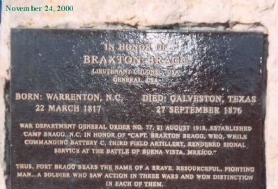 Braxton Bragg Marker image. Click for full size.
