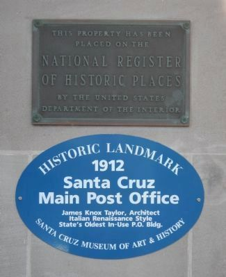 Santa Cruz Main Post Office Marker and NRHP Plaque image. Click for full size.