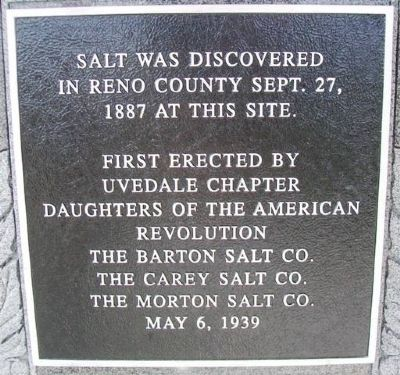 Reno County Salt Discovery Site Marker image. Click for full size.