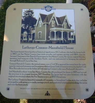 Lathrop-Connor-Mansfield House Marker image. Click for full size.