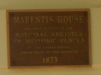 Marentis House Marker image. Click for full size.
