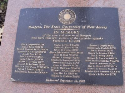 Rutgers 9/11 Memorial Marker image. Click for full size.