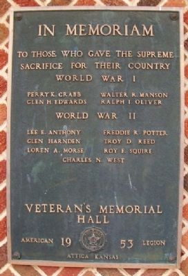 Veteran's Memorial Hall Marker Photo, Click for full size