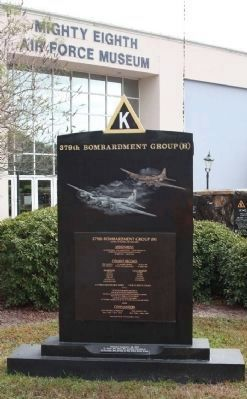 379th Bombardment Group (H) Marker, located at the Mighty Eighth Air Force Museum image. Click for full size.