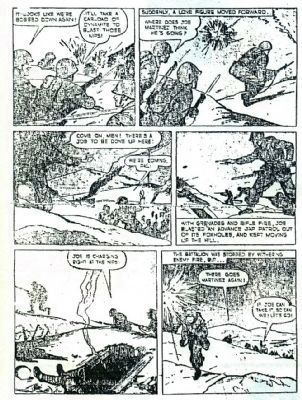 Pvt Joe P. Martinez Actions in a Cartoon. image. Click for full size.