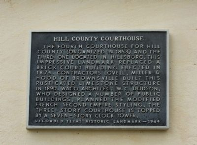 Hill County Courthouse Marker image. Click for full size.
