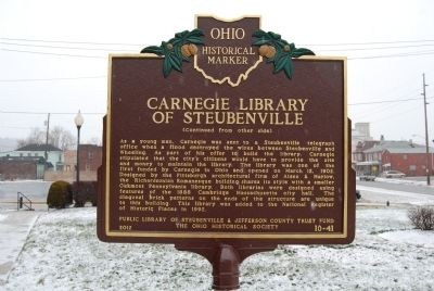 Carnegie Library of Steubenville Marker image. Click for full size.