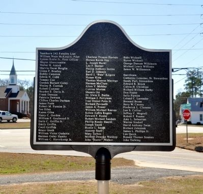 The Worst Aircraft Disaster in Georgia History Marker, Side 2 image. Click for full size.