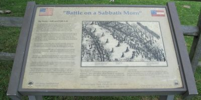 """Battle on a Sabbath Morn"" Marker image. Click for full size."