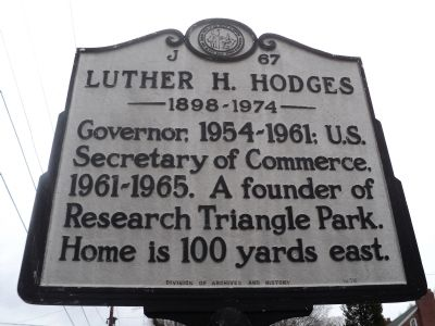 Luther H. Hodges Marker image. Click for full size.