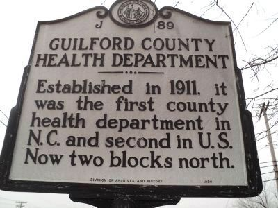 Guilford County Health Department Marker image. Click for full size.