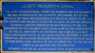 Lewes-Rehoboth Canal Marker Photo, Click for full size