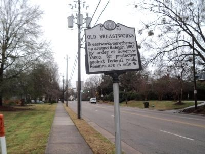 Old Breastworks Marker (Looking South) image. Click for full size.