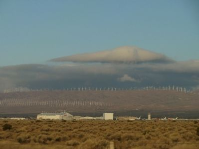 Wind Turbines and Mojave Air and Space Port image. Click for full size.
