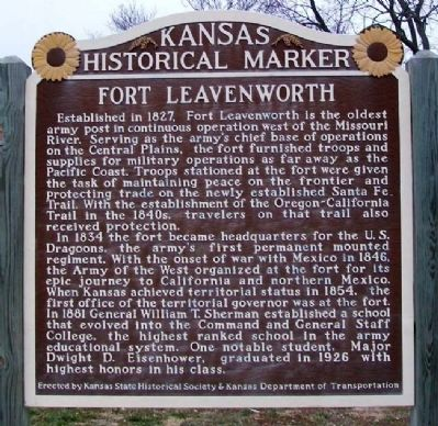Fort Leavenworth Marker image. Click for full size.