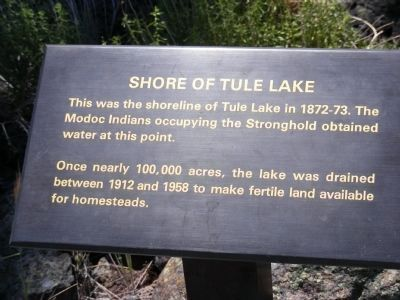 Sign at the Site of Tule Lake Shoreline image. Click for full size.