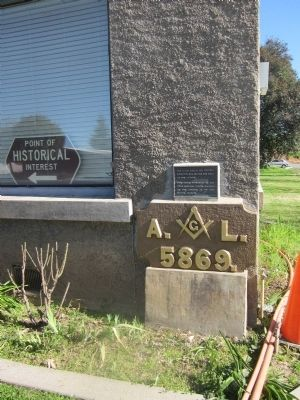 Masonic Temple Corner Stone and Marker image. Click for full size.