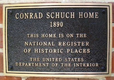 Conrad Schuch Home NRHP Marker image. Click for full size.